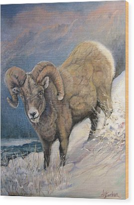 Wood Print featuring the painting Ram In The Snow by Donna Tucker