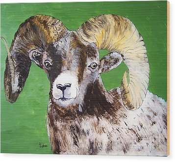 Ram Wood Print by Lucia Grilletto