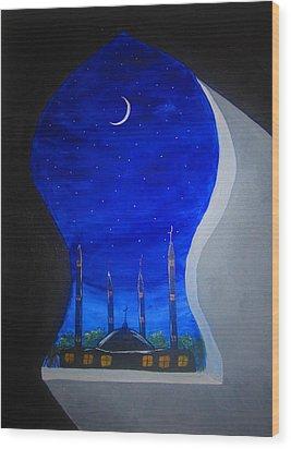 Ramadan Moon Wood Print by Haleema Nuredeen