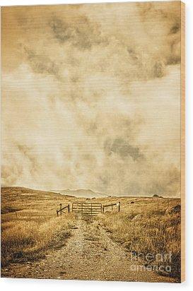 Ranch Gate Wood Print by Edward Fielding