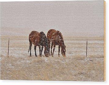 Ranch Horses In Snow Wood Print by Kae Cheatham