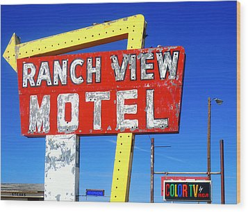 Ranch View Motel Wood Print by Gia Marie Houck