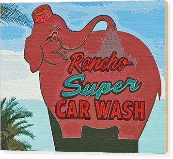 Rancho Super Car Wash Wood Print by Charlette Miller