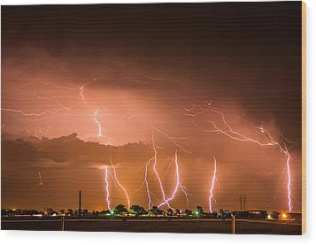 Randall Lightning Wood Print