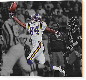 Randy Moss Wood Print by Brian Reaves