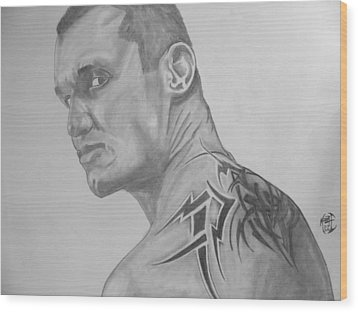 Wood Print featuring the drawing Randy Orton by Justin Moore