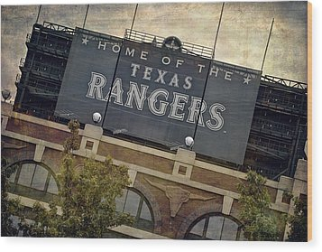 Rangers Ballpark In Arlington Color Wood Print by Joan Carroll