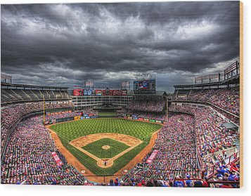 Rangers Ballpark In Arlington Wood Print