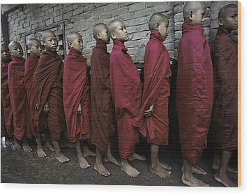 Rangoon Monks 1 Wood Print by David Longstreath