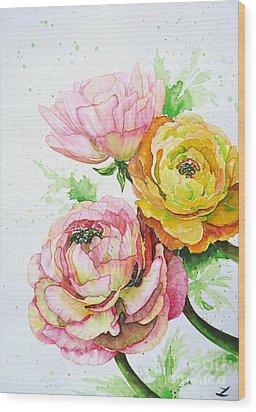 Ranunculus Flowers Wood Print by Zaira Dzhaubaeva