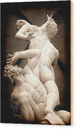 Rape Of The Sabines In Florence Wood Print
