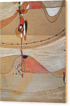 Rappeling Wood Print by Nancy Kane Chapman