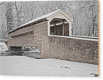 Rapps Bridge In Winter Wood Print by Michael Porchik