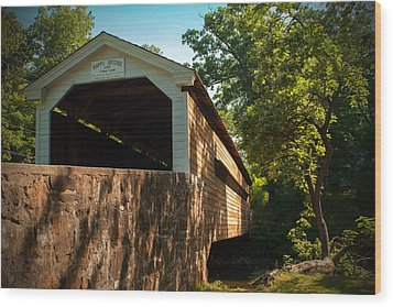 Rapps Covered Bridge Wood Print by Michael Porchik