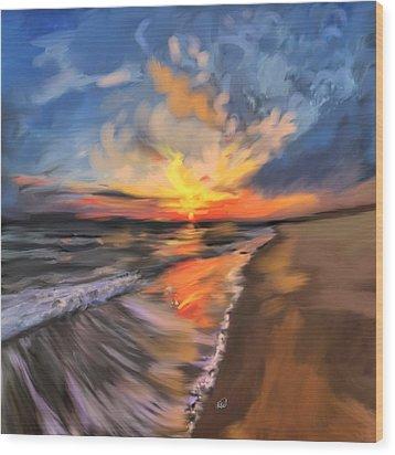 Rare California Sunset Wood Print by Angela A Stanton