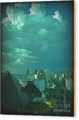 Rare Clouds Over Vegas Wood Print by John Malone