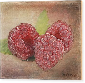 Raspberries  Wood Print by Barbara Orenya