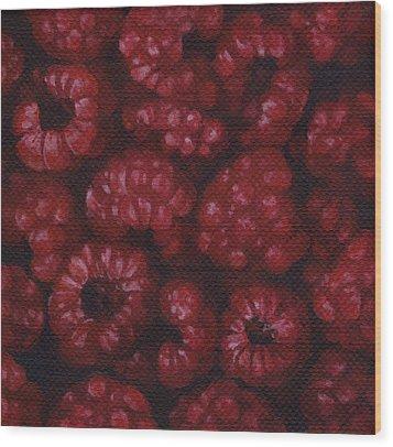 Raspberries Wood Print by Natasha Denger