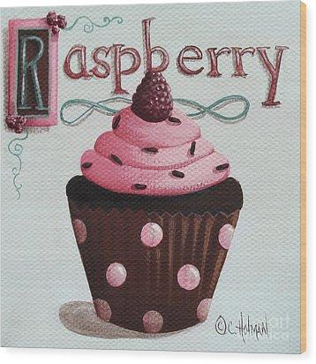 Raspberry Chocolate Cupcake Wood Print by Catherine Holman