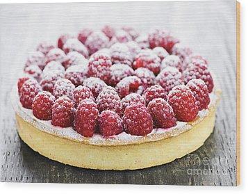 Raspberry Tart Wood Print by Elena Elisseeva