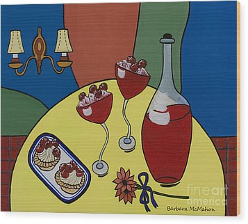 Wood Print featuring the painting Raspberry Wine by Barbara McMahon