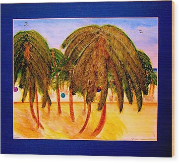 Rasta Palms Wood Print
