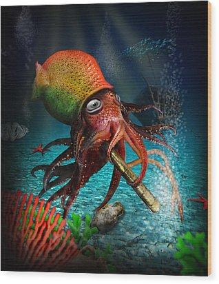 Rasta Squid Wood Print by Alessandro Della Pietra