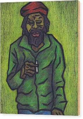 Rastafarian Wood Print by Kamil Swiatek