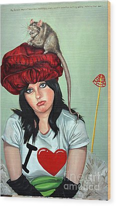 Rat Hat Wood Print by Shelley Laffal