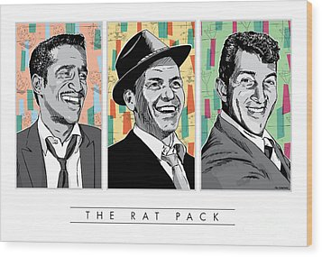 Rat Pack Pop Art Wood Print