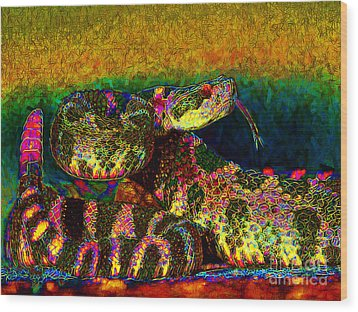 Rattlesnake 20130204p0 Wood Print by Wingsdomain Art and Photography