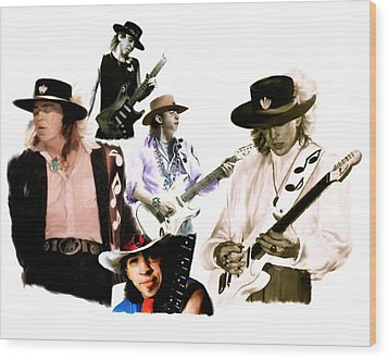 Rave On  Stevie Ray Vaughan Wood Print by Iconic Images Art Gallery David Pucciarelli