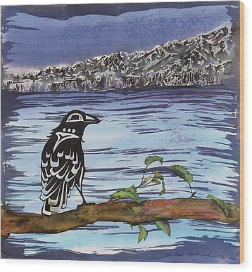 Raven And Ice Wood Print by Carolyn Doe