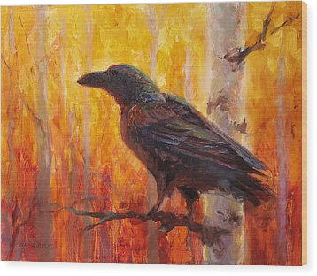 Raven Glow Autumn Forest Of Golden Leaves Wood Print by Karen Whitworth