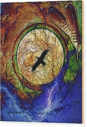 Raven Hawk And The Moon Wood Print by The Feathered Lady