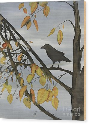 Raven In Birch Wood Print by Carolyn Doe