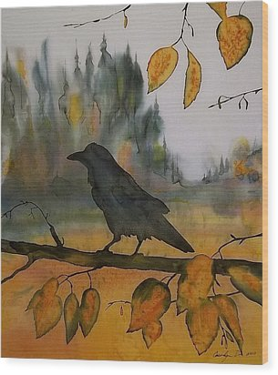 Raven In Orange Birch Wood Print by Carolyn Doe