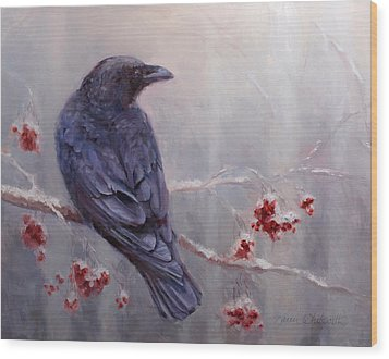 Raven In The Stillness - Black Bird Or Crow Resting In Winter Forest Wood Print