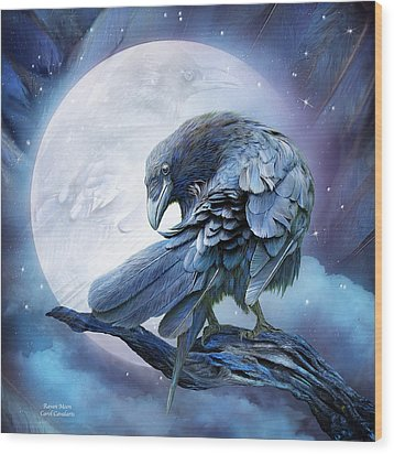 Raven Moon Wood Print by Carol Cavalaris