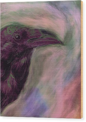 Raven Moon Wood Print by FeatherStone Studio Julie A Miller