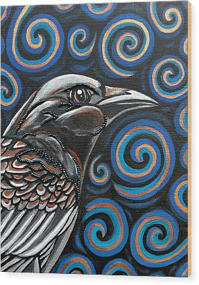 Wood Print featuring the painting Raven by Sarah Crumpler
