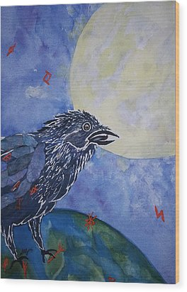 Raven Speak Wood Print by Ellen Levinson