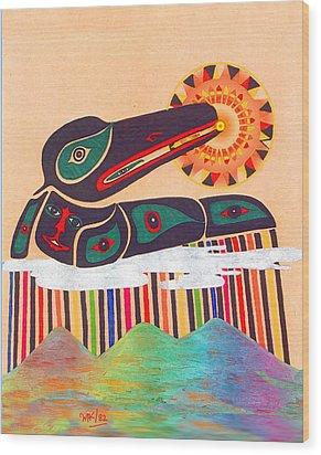 Raven Swallows The Sun Wood Print