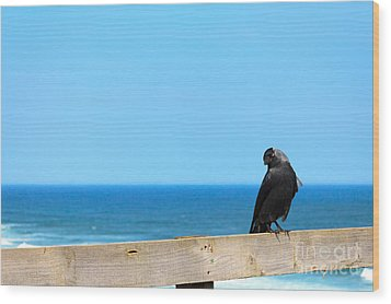 Wood Print featuring the photograph Raven Watching by Peta Thames