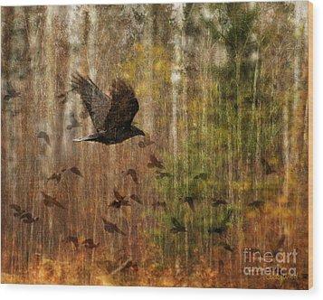 Raven Wood Wood Print by Judy Wood