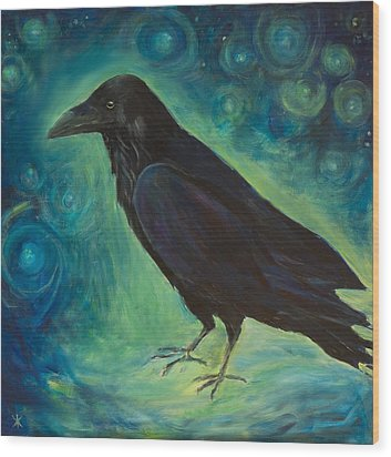Wood Print featuring the painting Space Raven by Yulia Kazansky