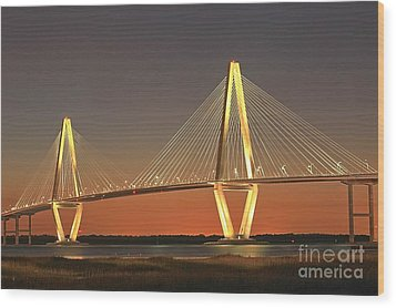 Ravenel Bridge At Dusk Wood Print by Adam Jewell
