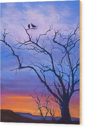 Raven's Chat Wood Print