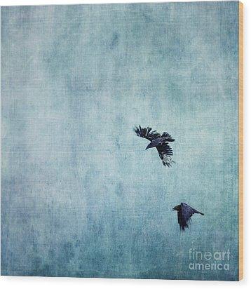 Ravens Flight Wood Print by Priska Wettstein