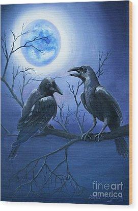 Raven's Moon Wood Print